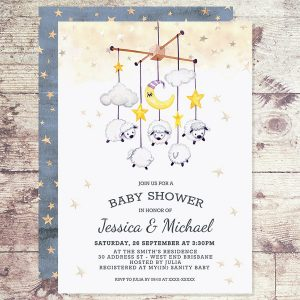 mobile Lamb baby shower invitation